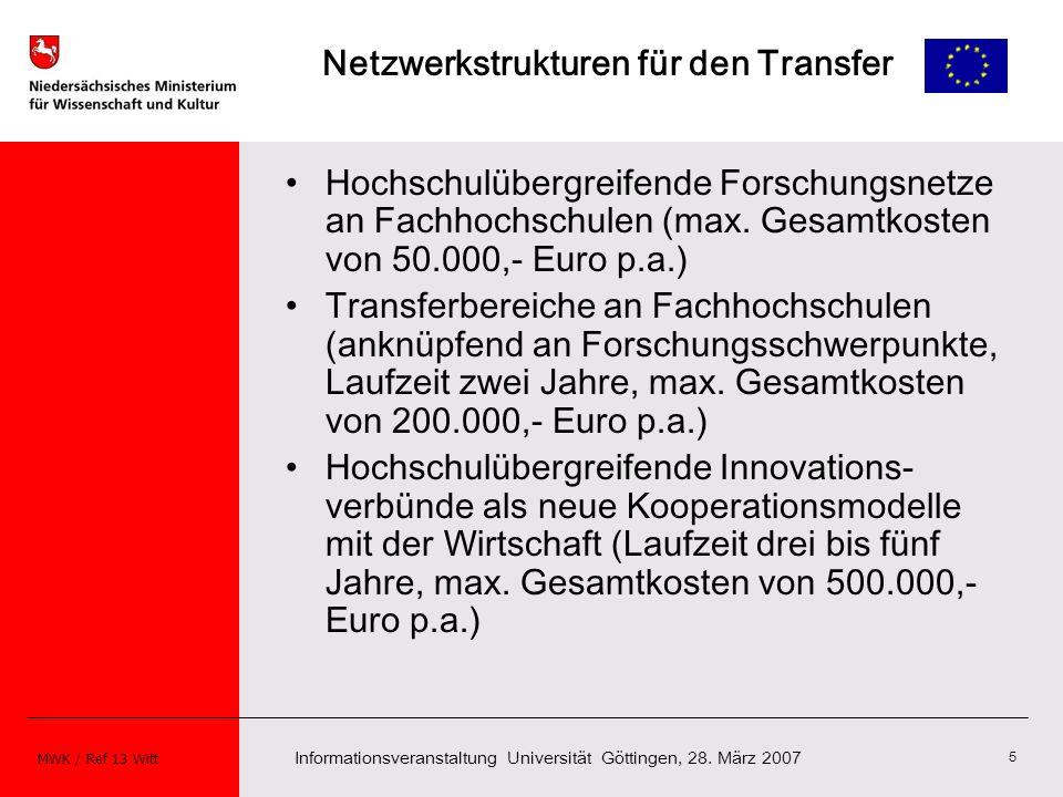Informationsveranstaltung Universität Göttingen, 28. März 2007 MWK / Ref 13 Witt 5 Netzwerkstrukturen für den Transfer Hochschulübergreifende Forschun