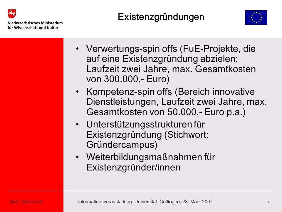 Informationsveranstaltung Universität Göttingen, 28. März 2007 MWK / Ref 13 Witt 7 Existenzgründungen Verwertungs-spin offs (FuE-Projekte, die auf ein