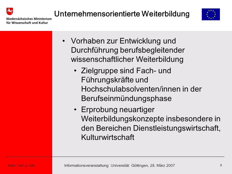 Informationsveranstaltung Universität Göttingen, 28. März 2007 MWK / Ref 13 Witt 8 Unternehmensorientierte Weiterbildung Vorhaben zur Entwicklung und