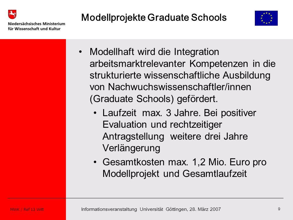 Informationsveranstaltung Universität Göttingen, 28. März 2007 MWK / Ref 13 Witt 9 Modellprojekte Graduate Schools Modellhaft wird die Integration arb