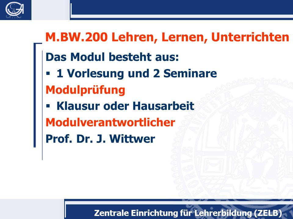 Zentrale Einrichtung für Lehrerbildung (ZELB) M.BW.300 Diagnostizieren, Beurteilen und Fördern Das Modul besteht aus 1 Vorlesung und 1 Seminar Modulprüfung Klausur Modulverantwortliche Prof.