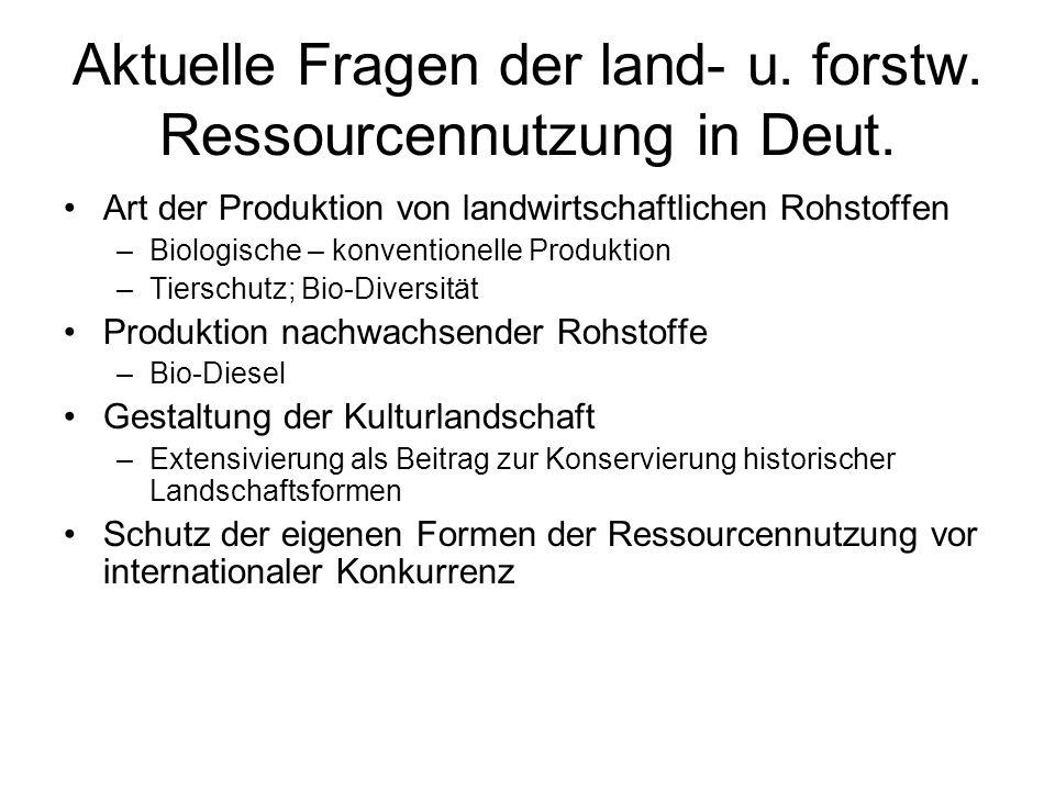 Aktuelle Fragen der land- u.forstw. Ressourcennutzung in Deut.