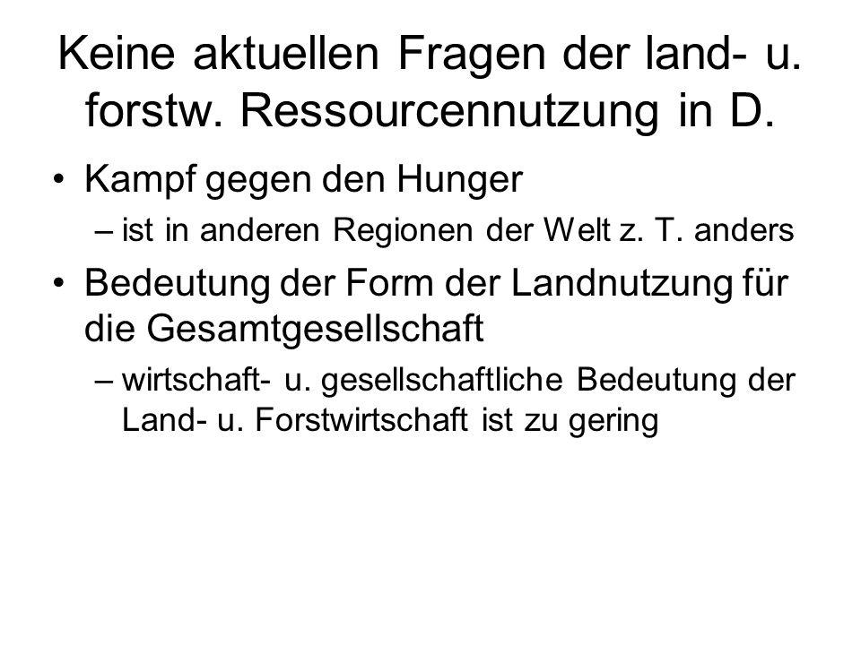 Keine aktuellen Fragen der land- u.forstw. Ressourcennutzung in D.