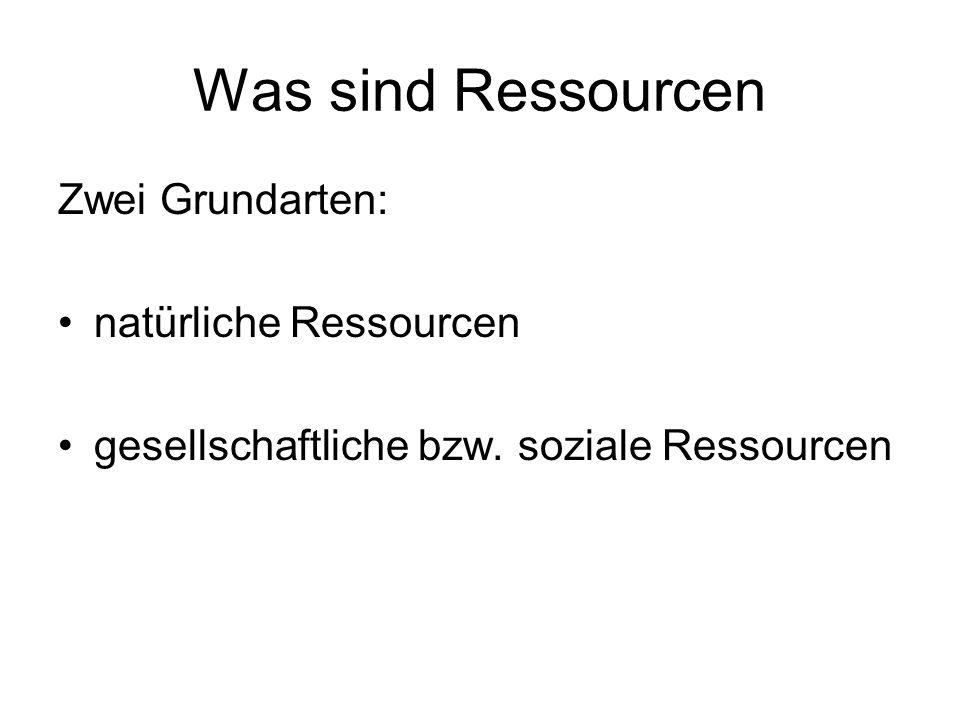 Was sind Ressourcen Zwei Grundarten: natürliche Ressourcen gesellschaftliche bzw.