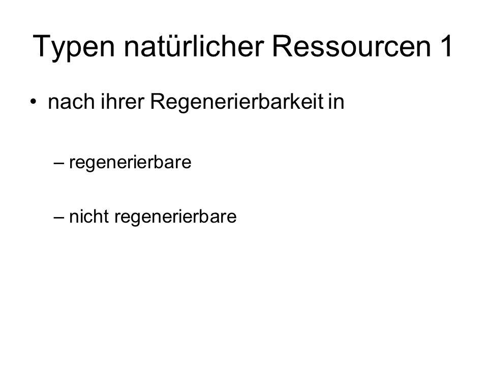 Typen natürlicher Ressourcen 1 nach ihrer Regenerierbarkeit in –regenerierbare –nicht regenerierbare
