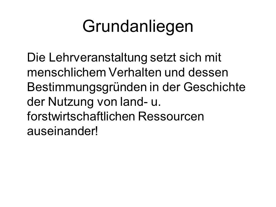 Grundanliegen Die Lehrveranstaltung setzt sich mit menschlichem Verhalten und dessen Bestimmungsgründen in der Geschichte der Nutzung von land- u.