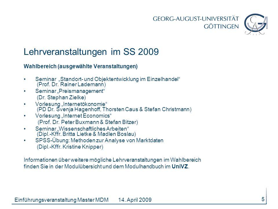 14. April 2009Einführungsveranstaltung Master MDM 5 Wahlbereich (ausgewählte Veranstaltungen) Seminar Standort- und Objektentwicklung im Einzelhandel