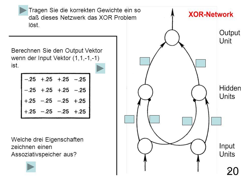 1 Tragen Sie die korrekten Gewichte ein so daß dieses Netzwerk das XOR Problem löst. Berechnen Sie den Output Vektor wenn der Input Vektor (1,1,-1,-1)