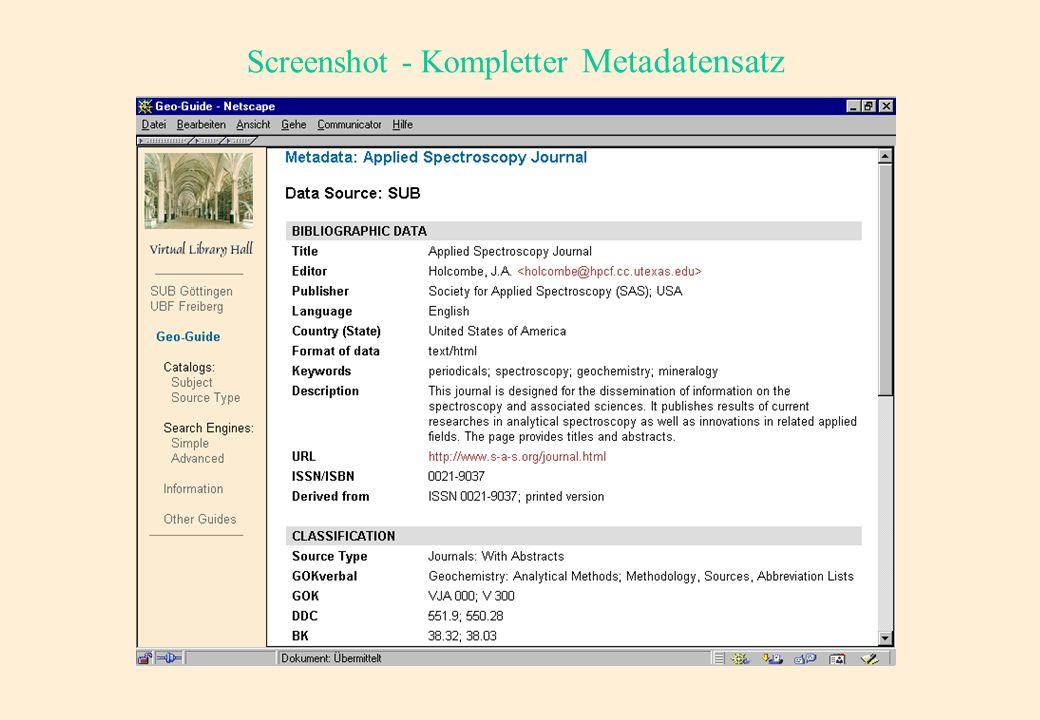 Screenshot - Ergebnisliste mit einem Minimalsatz Metadaten