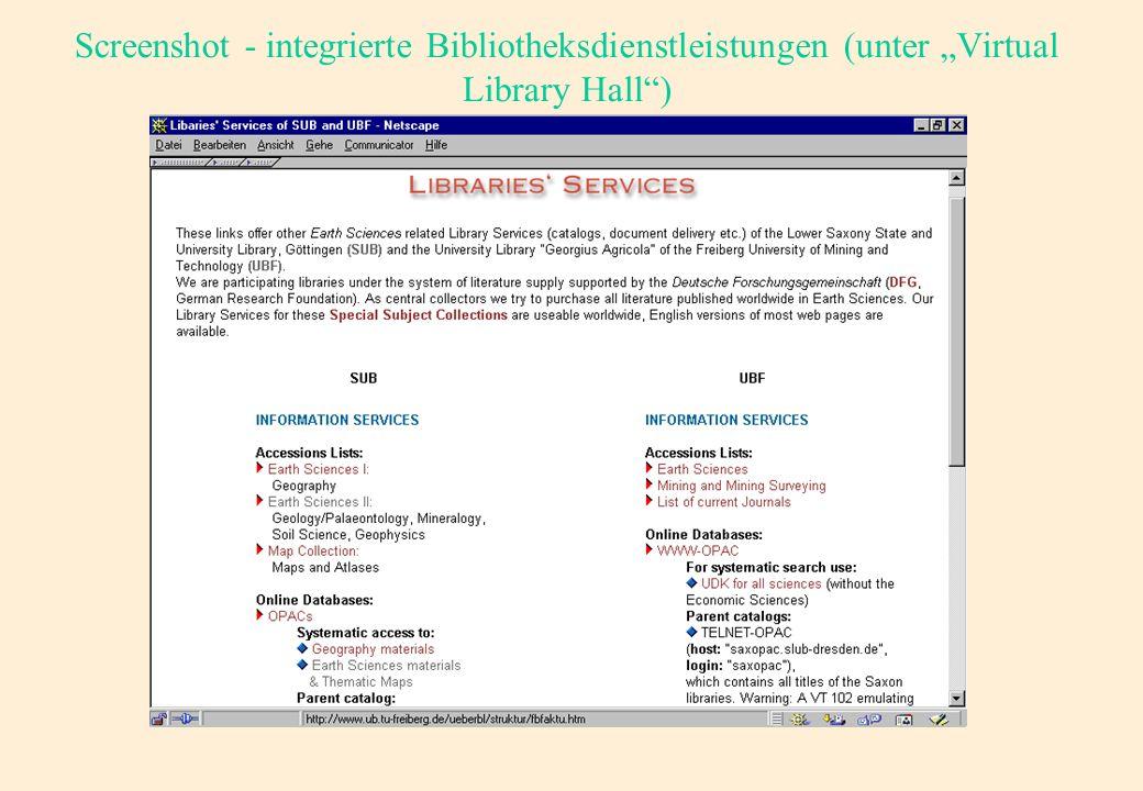 Screenshot - integrierte Informationsseiten (unter Information)