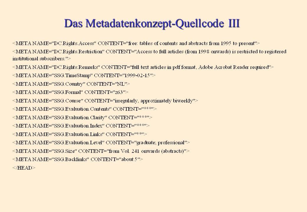 Das Metadatenkonzept-Quellcode II