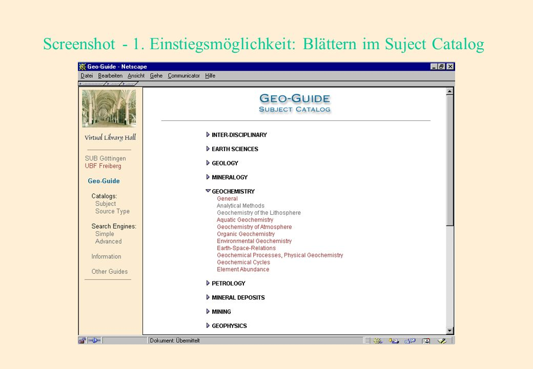 Nutzersicht: Screenshot - Einstiegsebene