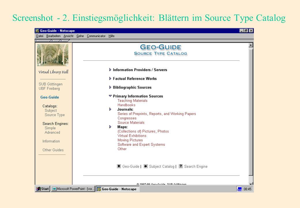 Screenshot - 1. Einstiegsmöglichkeit: Blättern im Suject Catalog