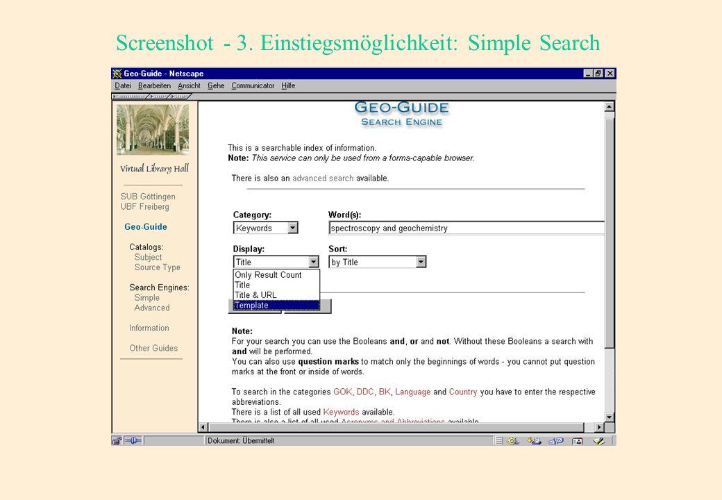 Screenshot - 3. Einstiegsmöglichkeit: Simple Search