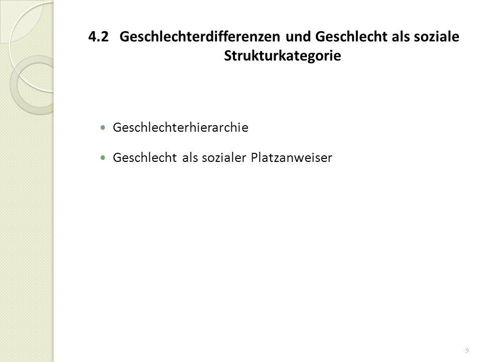 9 4.2 Geschlechterdifferenzen und Geschlecht als soziale Strukturkategorie Geschlechterhierarchie Geschlecht als sozialer Platzanweiser