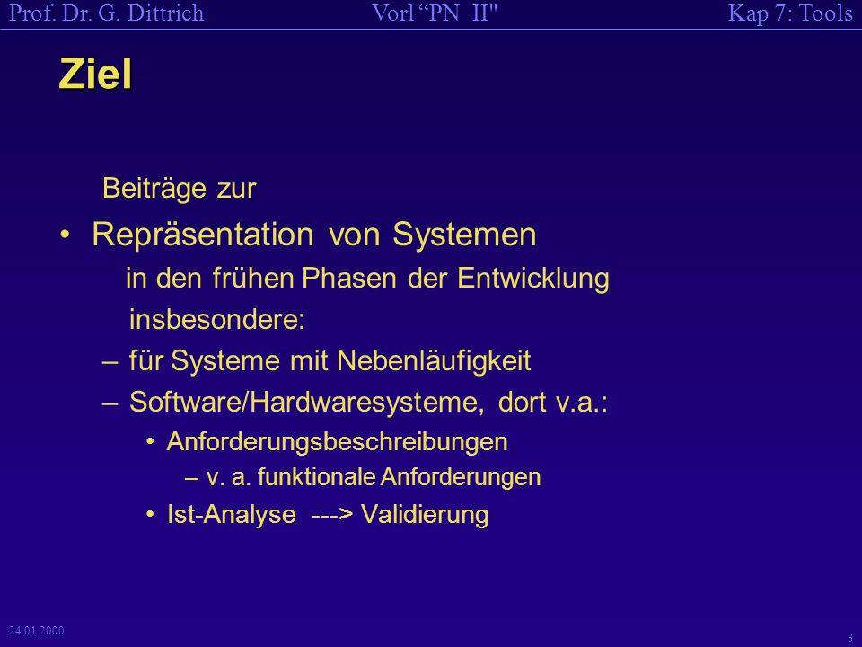 Kap 7: ToolsVorl PN II Prof.Dr. G. Dittrich 24 24.01.2000 Literatur 3 [PetS 89] Dittrich, G.