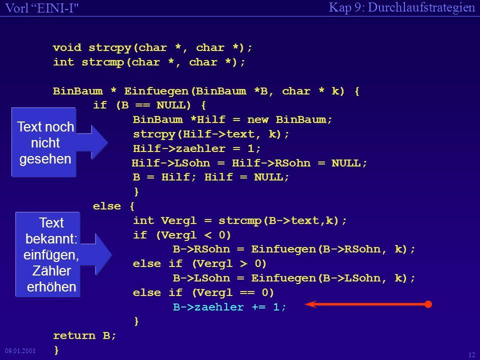Kap 9: Durchlaufstrategien Vorl EINI-I 11 09.01.2001 Strategie zum Einfügen Suchen nach einer Zeichenkette im binären Suchbaum –Zeichenkette nicht gefunden: neuen Knoten einfügen, Zähler zu 1 initialisieren –Zeichenkette gefunden: Zähler um 1 erhöhen