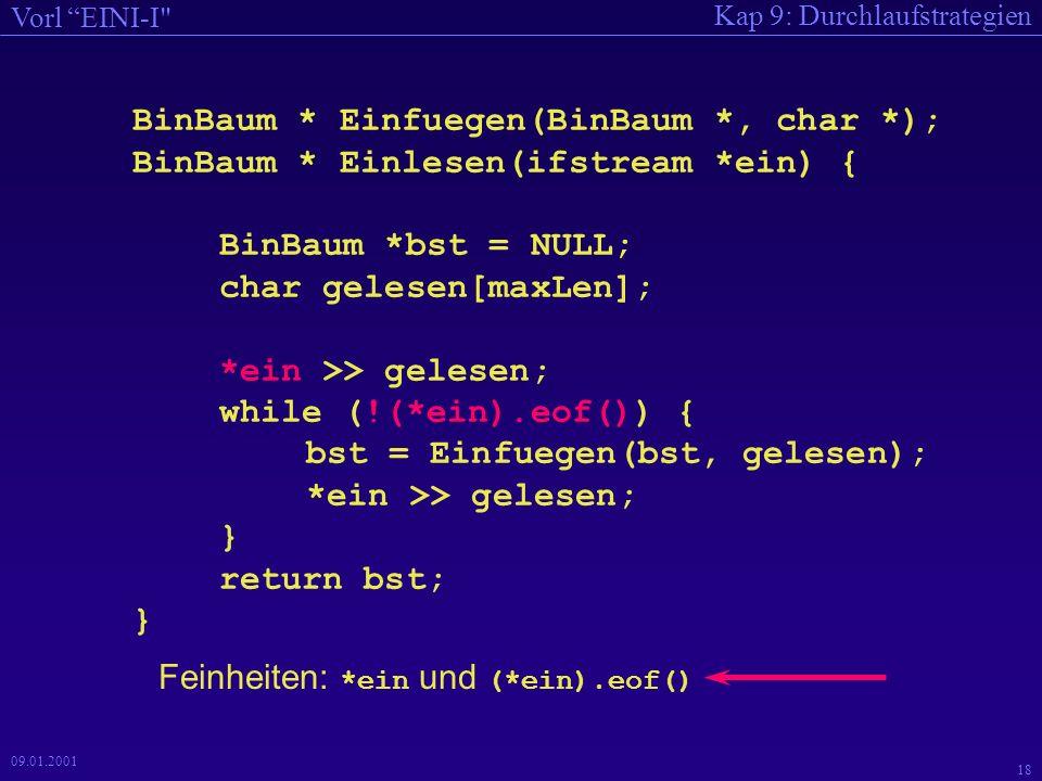 Kap 9: Durchlaufstrategien Vorl EINI-I 17 09.01.2001 Anmerkungen Zugriff auf Ein- und Ausgabedateien wird über Zeiger auf ifstream- und ofstream- Variablen bewirkt.