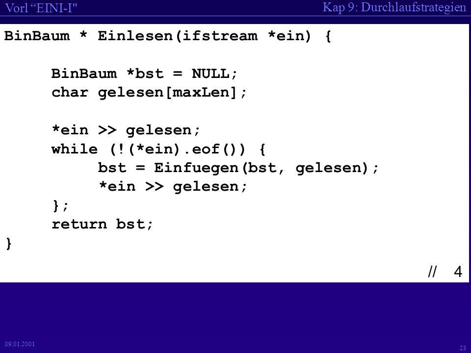 Kap 9: Durchlaufstrategien Vorl EINI-I 22 09.01.2001 main() { BinBaum *BST; ifstream *EingabeDatei; ofstream *AusgabeDatei; char EinDat[80], AusDat[80]; cout << bitte Eingabedatei angeben: ; cin >> EinDat; cout << bitte AusgabeDatei angeben: ; cin >> AusDat; cout << Danke << endl; EingabeDatei = new ifstream(EinDat); AusgabeDatei = new ofstream(AusDat); BST = Einlesen(EingabeDatei); Ausdrucken(BST, AusgabeDatei); cout << fertig << endl; } // 3