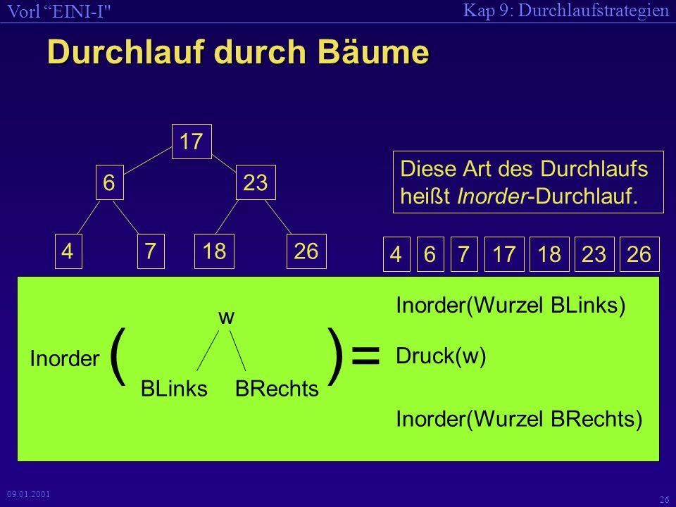 Kap 9: Durchlaufstrategien Vorl EINI-I 25 09.01.2001 void Ausdrucken(BinBaum *K, ofstream *aus) { if (K != NULL) { Ausdrucken(K->LSohn, aus); KnotenDruck(K, aus); Ausdrucken(K->RSohn, aus); } void KnotenDruck(BinBaum *T, ofstream *aus){ Schreiben(T->text, T->zaehler, aus); } void Schreiben(char * s, int k, ofstream *aus){ *aus << k << \t\t\t << s << endl; } // 6