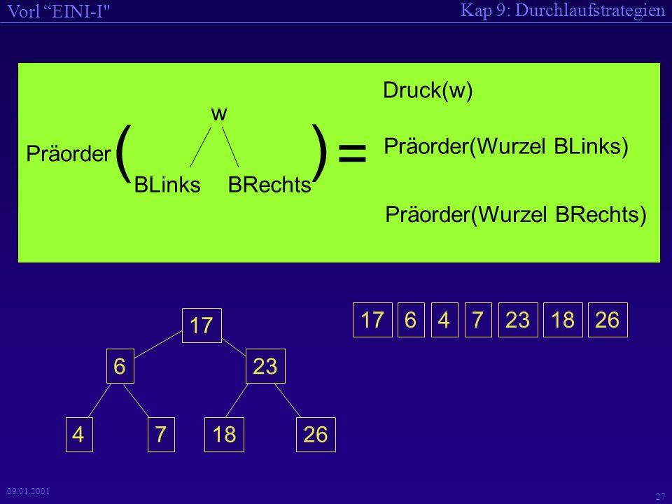 Kap 9: Durchlaufstrategien Vorl EINI-I 26 09.01.2001 Durchlauf durch Bäume 47 6 17 18 23 26 Diese Art des Durchlaufs heißt Inorder-Durchlauf.