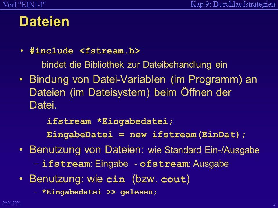 Kap 9: Durchlaufstrategien Vorl EINI-I 3 09.01.2001 Dateien Einfache Dateibehandlung –(externe Dateien, Öffnen, Lesen/Schreiben, Schließen).