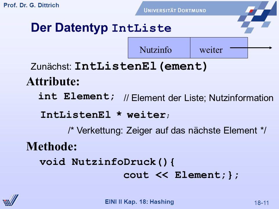 18-11 Prof. Dr. G. Dittrich 22.05.2000 EINI II Kap. 18: Hashing Der Datentyp IntListe int Element; // Element der Liste; Nutzinformation IntListenEl *