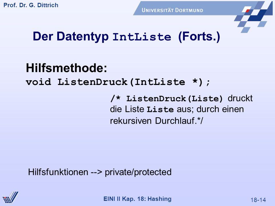 18-14 Prof. Dr. G. Dittrich 22.05.2000 EINI II Kap. 18: Hashing Der Datentyp IntListe (Forts.) Hilfsmethode: void ListenDruck(IntListe *); /* ListenDr