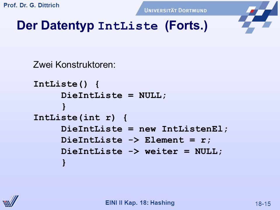 18-15 Prof. Dr. G. Dittrich 22.05.2000 EINI II Kap. 18: Hashing Der Datentyp IntListe (Forts.) IntListe() { DieIntListe = NULL; } IntListe(int r) { Di