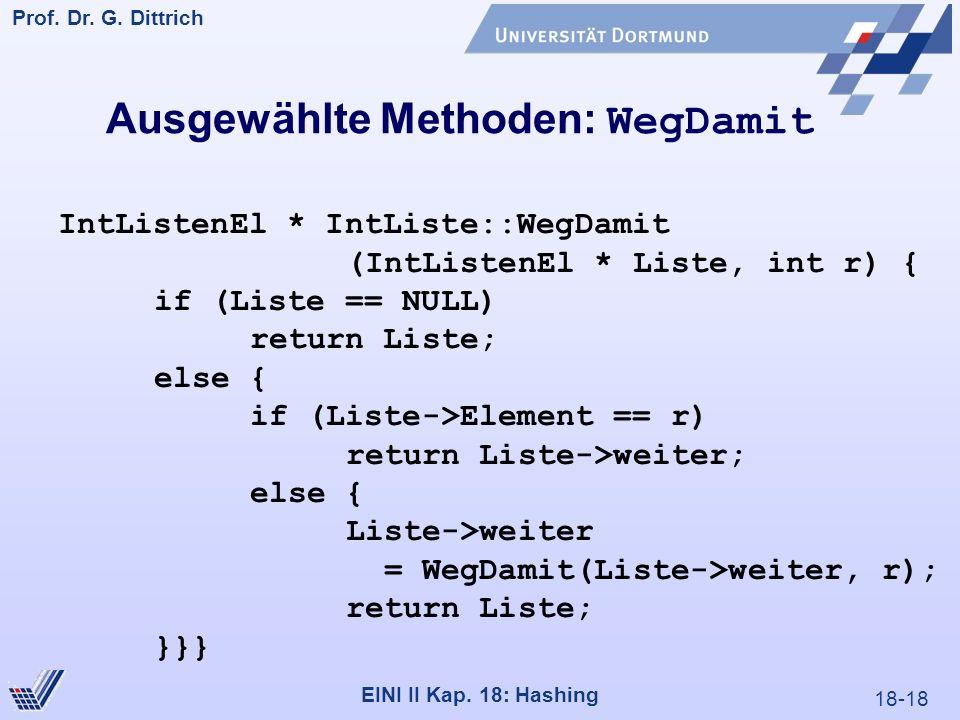 18-18 Prof. Dr. G. Dittrich 22.05.2000 EINI II Kap. 18: Hashing Ausgewählte Methoden: WegDamit IntListenEl * IntListe::WegDamit (IntListenEl * Liste,