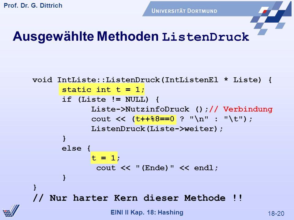 18-20 Prof. Dr. G. Dittrich 22.05.2000 EINI II Kap. 18: Hashing Ausgewählte Methoden ListenDruck void IntListe::ListenDruck(IntListenEl * Liste) { sta
