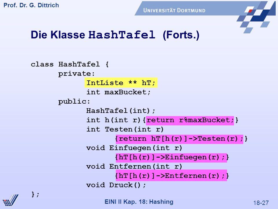18-27 Prof. Dr. G. Dittrich 22.05.2000 EINI II Kap. 18: Hashing Die Klasse HashTafel (Forts.) class HashTafel { private: IntListe ** hT; int maxBucket