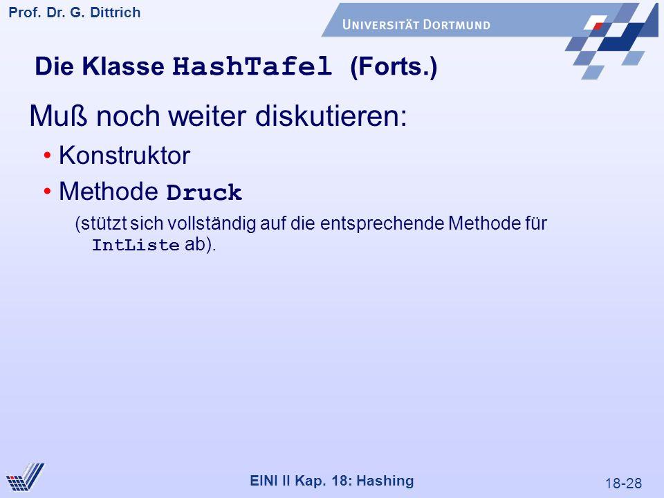 18-28 Prof. Dr. G. Dittrich 22.05.2000 EINI II Kap. 18: Hashing Muß noch weiter diskutieren: Konstruktor Methode Druck (stützt sich vollständig auf di
