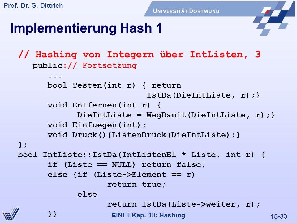 18-33 Prof. Dr. G. Dittrich 22.05.2000 EINI II Kap. 18: Hashing Implementierung Hash 1 // Hashing von Integern über IntListen, 3 public:// Fortsetzung