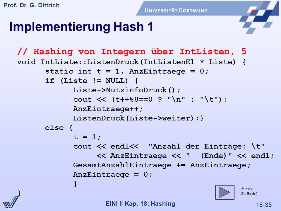 18-35 Prof. Dr. G. Dittrich 22.05.2000 EINI II Kap. 18: Hashing Implementierung Hash 1 // Hashing von Integern über IntListen, 5 void IntListe::Listen