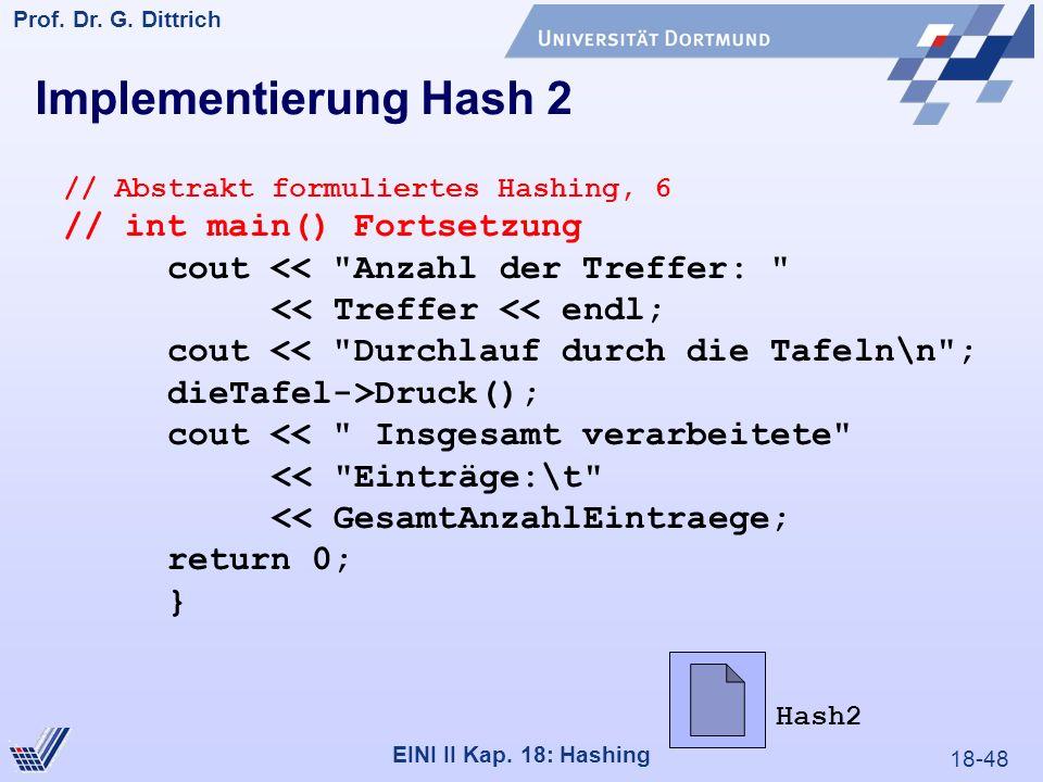 18-48 Prof. Dr. G. Dittrich 22.05.2000 EINI II Kap. 18: Hashing // Abstrakt formuliertes Hashing, 6 // int main() Fortsetzung cout <<