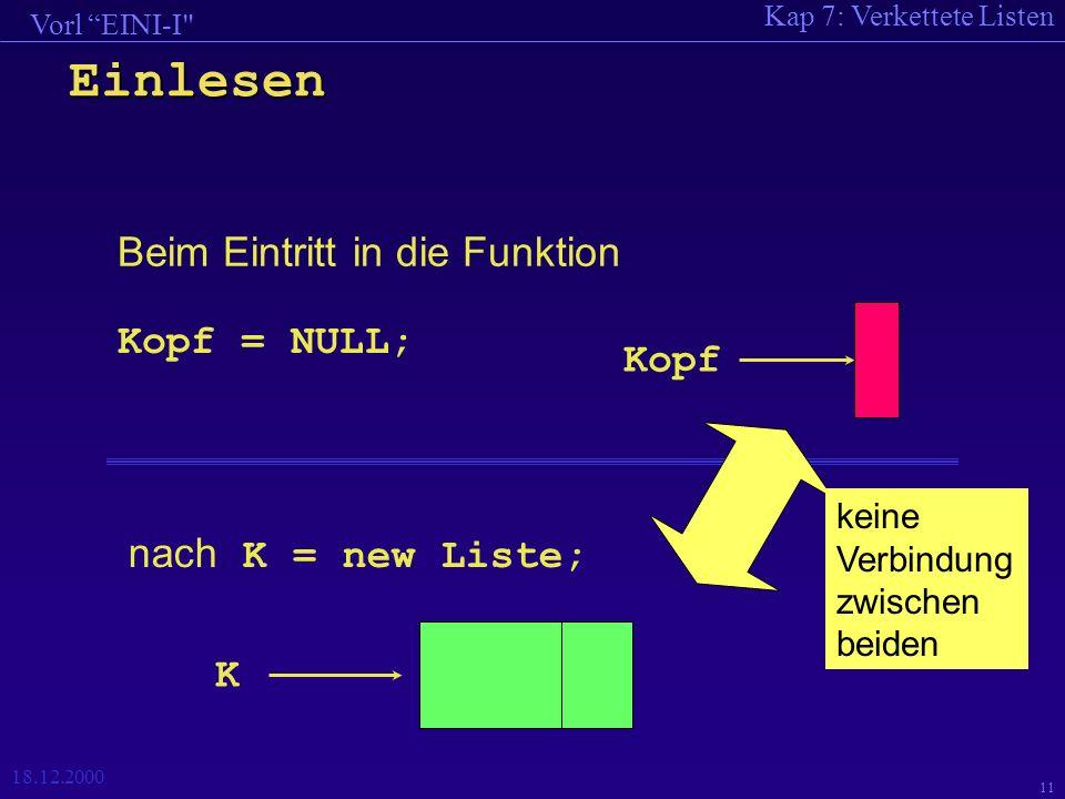 Kap 7: Verkettete Listen Vorl EINI-I 18.12.2000 11 Einlesen Beim Eintritt in die Funktion Kopf = NULL; Kopf nach K = new Liste; K keine Verbindung zwischen beiden