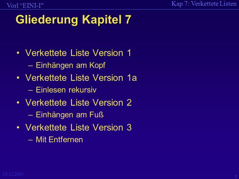 Kap 7: Verkettete Listen Vorl EINI-I 18.12.2000 33 int GanzeZahlLesen(char * prompt) { int i; cout << prompt; cout << (ganze Zahl bzw.