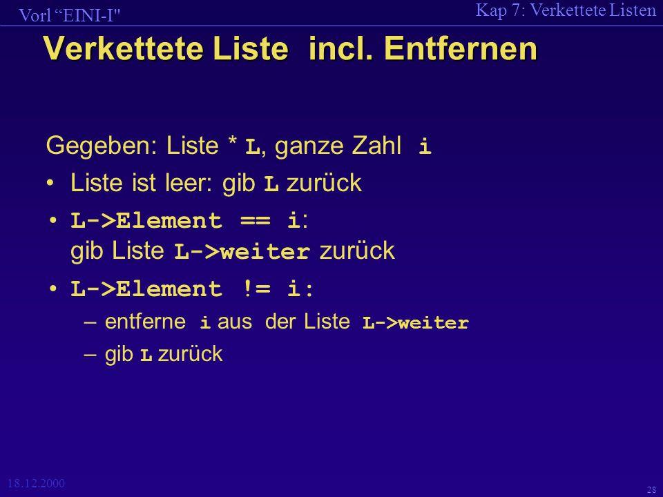 Kap 7: Verkettete Listen Vorl EINI-I 18.12.2000 28 Verkettete Liste incl.