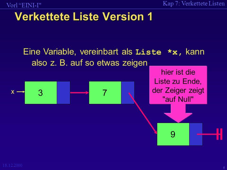 Kap 7: Verkettete Listen Vorl EINI-I 18.12.2000 6 Verkettete Liste Version 1 Eine Variable, vereinbart als Liste *x, kann also z.