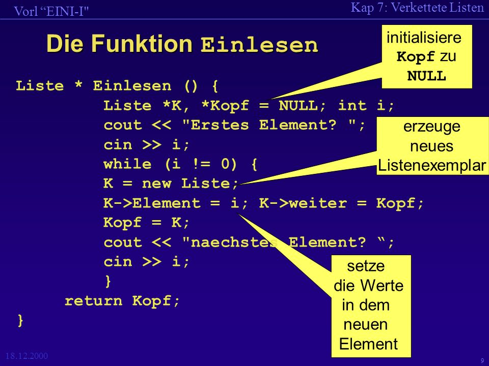 Kap 7: Verkettete Listen Vorl EINI-I 18.12.2000 20 Einlesen (rekursiv) Liste *Einlesen () { Liste *K; int i; cout > i; K = new Liste; K->Element = i; K->weiter = (i != 0 .