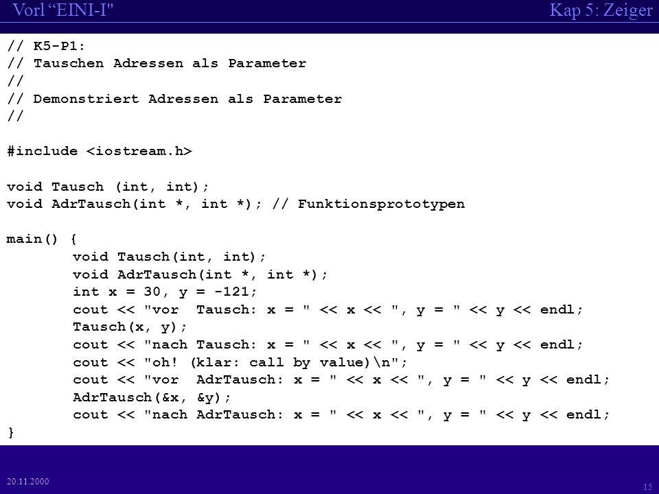 Kap 5: ZeigerVorl EINI-I 15 20.11.2000 // K5-P1: // Tauschen Adressen als Parameter // // Demonstriert Adressen als Parameter // #include void Tausch (int, int); void AdrTausch(int *, int *); // Funktionsprototypen main() { void Tausch(int, int); void AdrTausch(int *, int *); int x = 30, y = -121; cout << vor Tausch: x = << x << , y = << y << endl; Tausch(x, y); cout << nach Tausch: x = << x << , y = << y << endl; cout << oh.