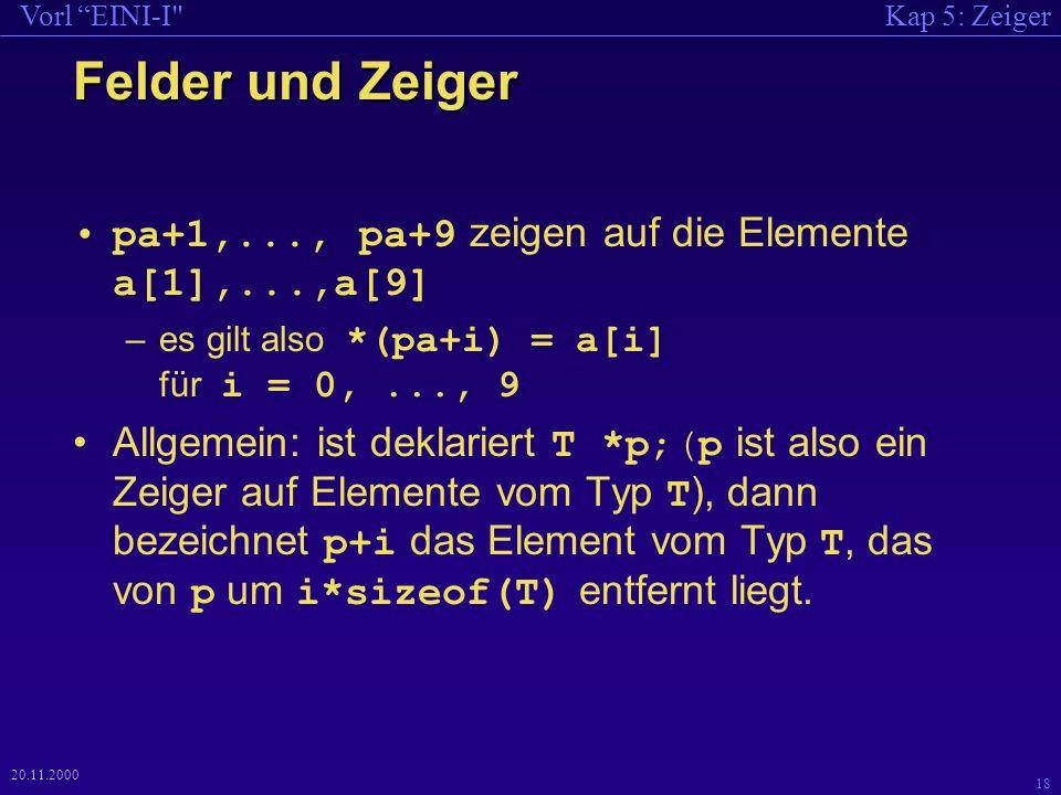 Kap 5: ZeigerVorl EINI-I 18 20.11.2000 Felder und Zeiger pa+1,..., pa+9 zeigen auf die Elemente a[1],...,a[9] –es gilt also *(pa+i) = a[i] für i = 0,..., 9 Allgemein: ist deklariert T *p;(p ist also ein Zeiger auf Elemente vom Typ T ), dann bezeichnet p+i das Element vom Typ T, das von p um i*sizeof(T) entfernt liegt.