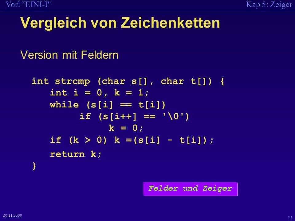 Kap 5: ZeigerVorl EINI-I 25 20.11.2000 Vergleich von Zeichenketten Version mit Feldern int strcmp (char s[], char t[]) { int i = 0, k = 1; while (s[i] == t[i]) if (s[i++] == \0 ) k = 0; if (k > 0) k =(s[i] - t[i]); return k; } Felder und Zeiger