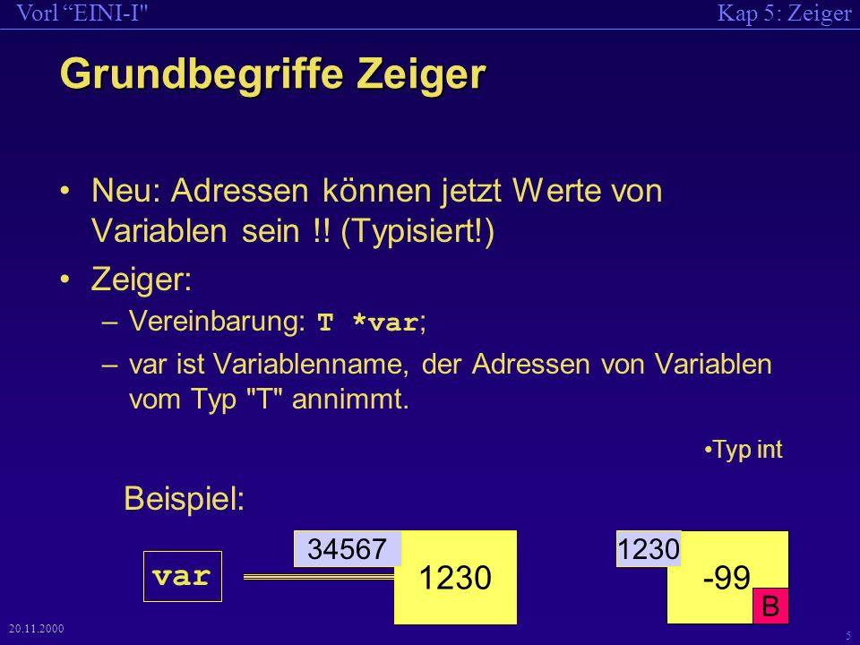 Kap 5: ZeigerVorl EINI-I 5 20.11.2000 Grundbegriffe Zeiger Neu: Adressen können jetzt Werte von Variablen sein !.