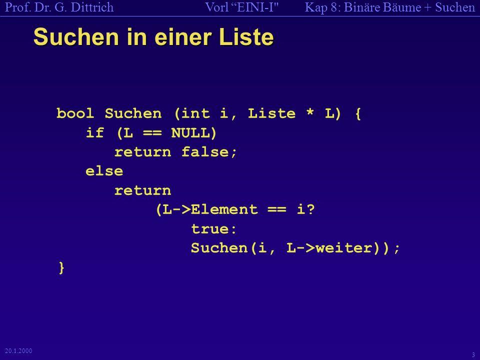 Kap 8: Binäre Bäume + SuchenVorl EINI-I Prof.Dr. G.