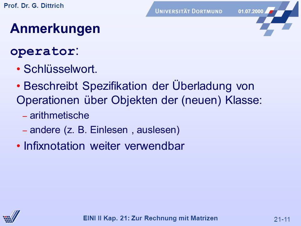 21-11 Prof. Dr. G. Dittrich 01.07.2000 EINI II Kap.