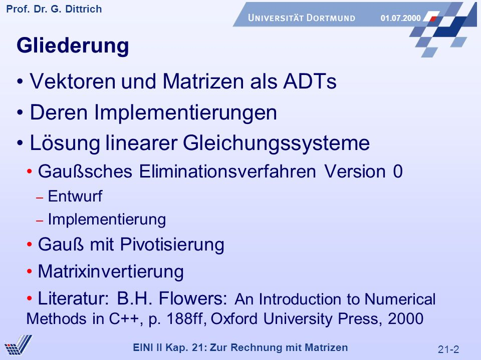 21-2 Prof. Dr. G. Dittrich 01.07.2000 EINI II Kap.