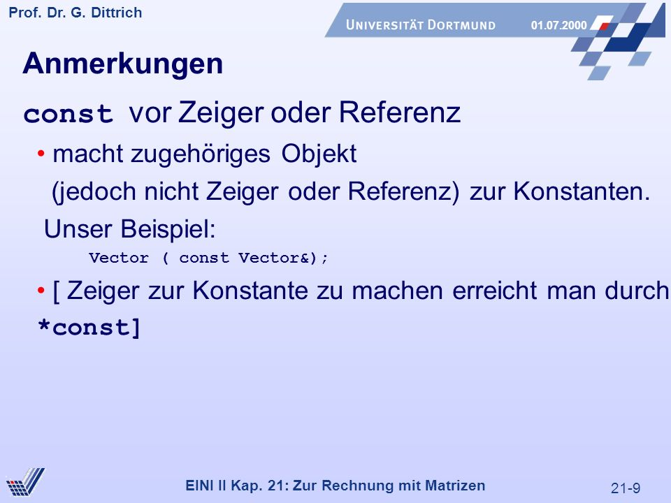 21-9 Prof. Dr. G. Dittrich 01.07.2000 EINI II Kap.