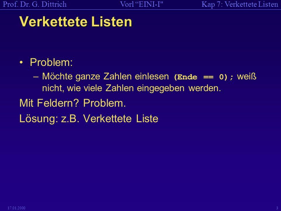 Kap 7: Verkettete ListenVorl EINI-I Prof. Dr. G.